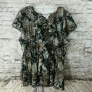 plus size 2x sleeveless ruffle top animal print